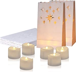 Homemory 24 PCS LED Tea Lights with 12 PCS Luminary Bags, Flameless Votive Tealights Candles with Warm White Flickering Light, Small Electric Tea Candles for Wedding, Party, Christmas, 150+ Hours