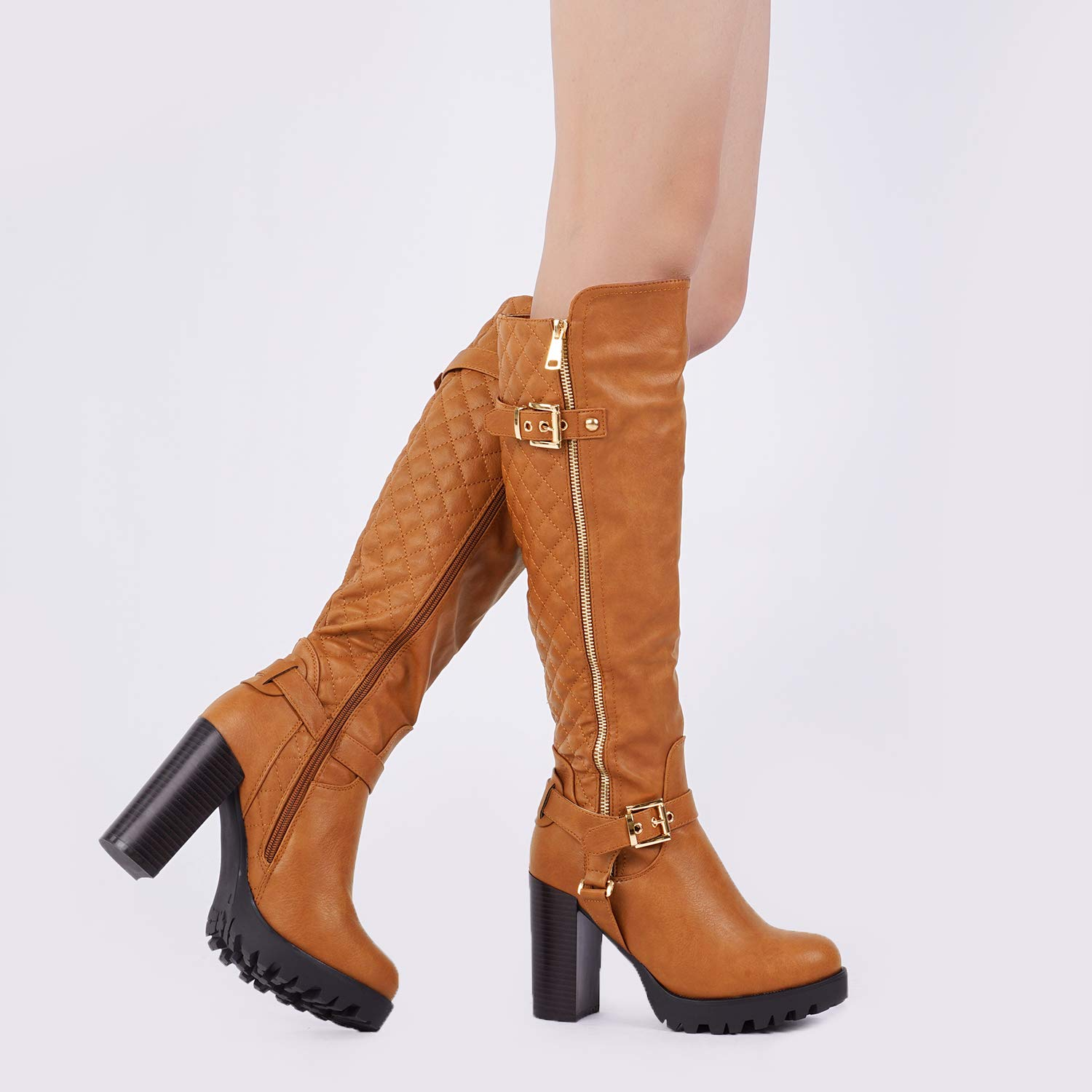 6a77cff0d59 DREAM PAIRS Lacey Over Knee High Heel Lace up Zipper Closure Combat Boots   Amazon.ca  Shoes   Handbags