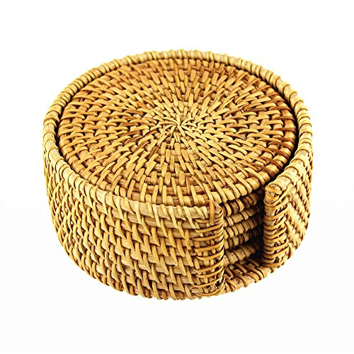"BRILA Hand-woven Rattan Coasters With Multipurpose Coaster Holder, Exotic Handmade Teacup coasters, Creative Gift, Set of 6 (3.94"")"