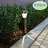 voona Solar LED Outdoor Lights 8-Pack Stainless Steel Pathway Landscape lights For Outdoor Path Patio Yard Deck Driveway and Garden, (Silver)