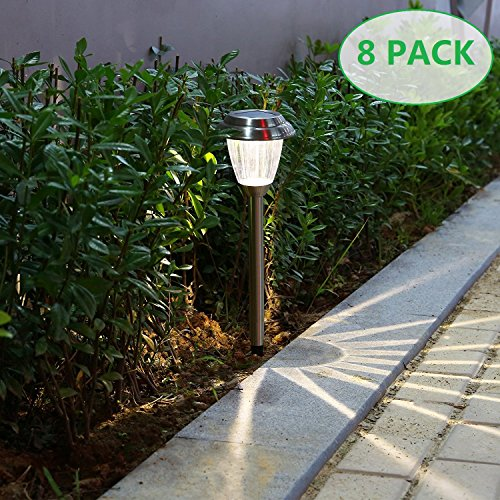 - voona Solar LED Outdoor Lights 8-Pack Stainless Steel Pathway Landscape Lights for Outdoor Path Patio Yard Deck Driveway and Garden, (Silver)