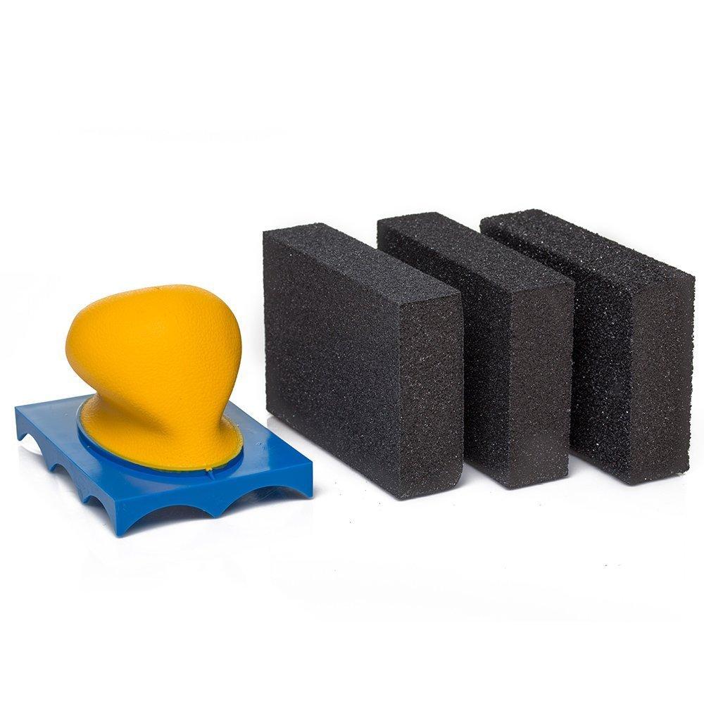 GP15923 Abrasive Sanding Sponge Kit with Hand Sanding Holder, Sanding Block wet or dry by Glass Polish