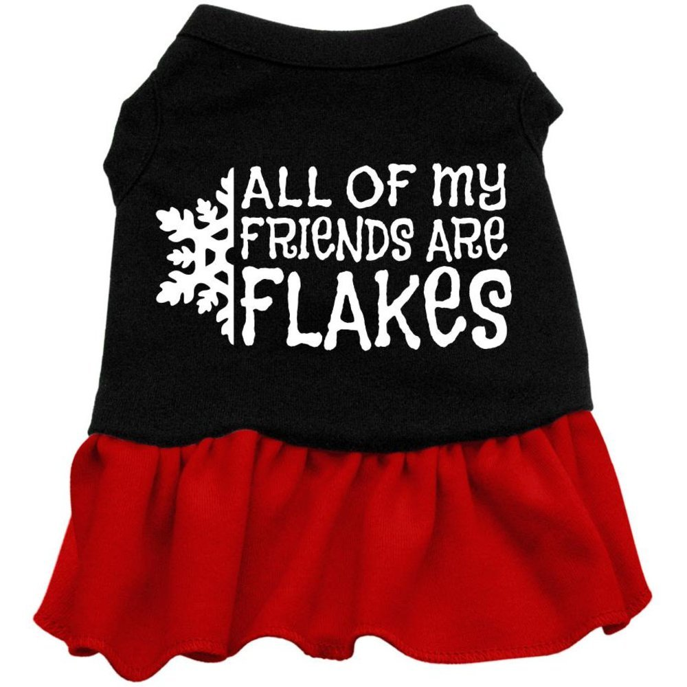 Mirage Pet Products 8-Inch All My Friends are Flakes Screen Print Dress, X-Small, Black with Red