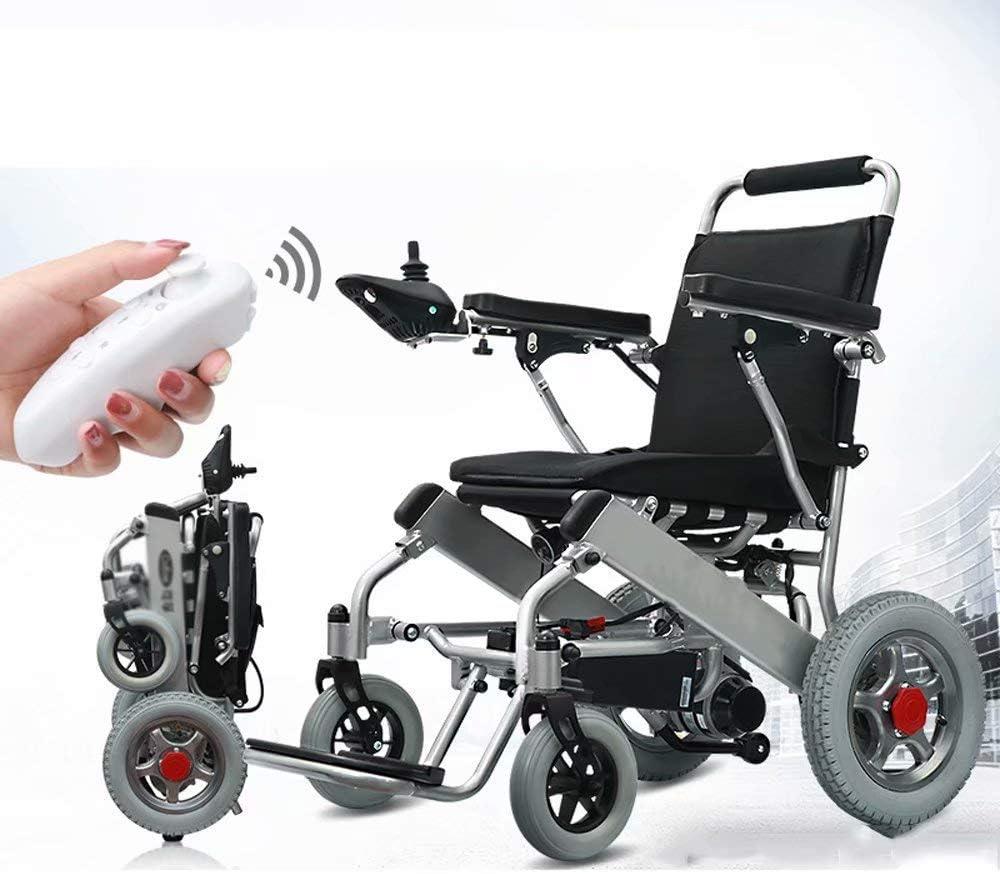 SED Silla de Ruedas Eléctrica Auxiliar con Carro Ligero, Silla de Ruedas con Control Remoto Inteligente, Luz Plegable, para Ancianos Discapacitados (Batería de Litio de 20 Ah)