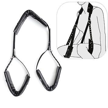 Thigh neck leather bondage restraint