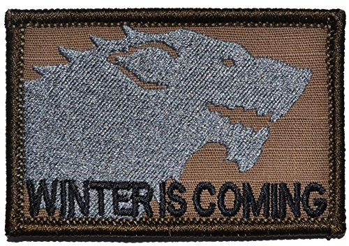 Winter is Coming / Stark Wolf / Game of Thrones 2x3 Morale Patch - Multiple Colors (Coyote Brown with Black)