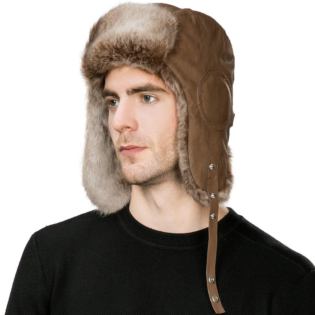 56719b3699a718 Mens Winter Aviator Pilot Trapper Hunting Hat Ear Flaps Faux Leather Fur  Russian Ushanka Cold Weather Ski Bomber Women Brown