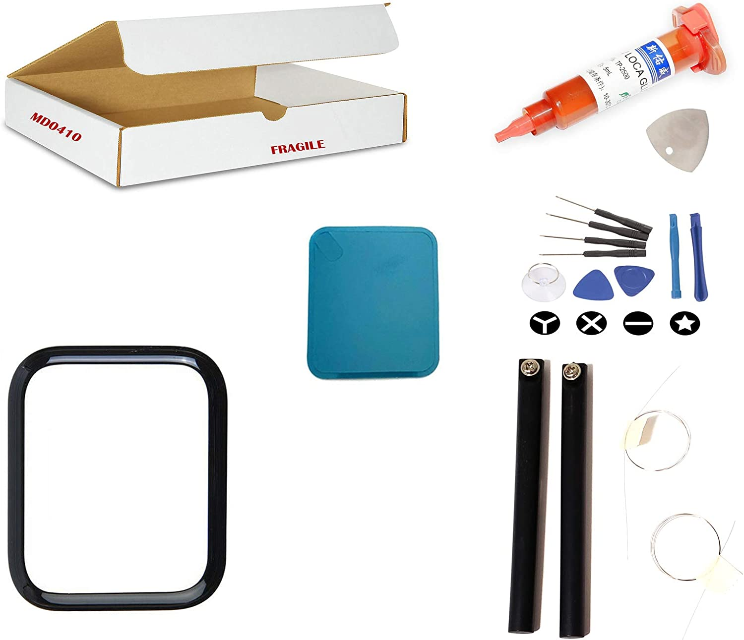 md0410 Screen Repair Kit Compatible for Apple Watch Series 4 (44mm) Model A1976 A1978 A2008 - Front Glass Lens Replacement