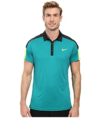 Nike Men's Team Court Tennis Polo Shirt (Small, Teal/Black/Volt)