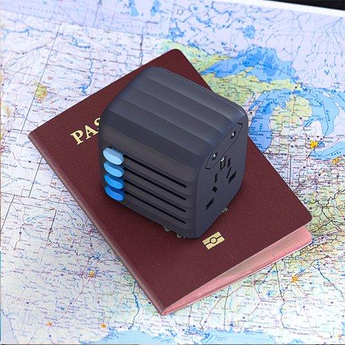 ZENDURE Adaptateur De Voyage Universel avec 4 Ports USB et Fusible de S/écurit/é Chargeur International Adaptateur Prise Anglaise//Americaine//Europe//Australie et Plus de 150 Pays Gris Fonc/é