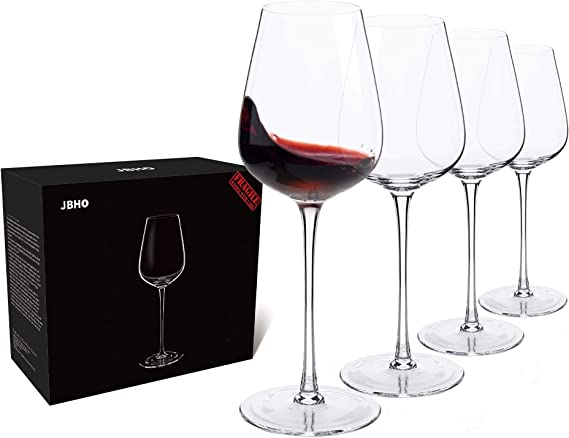 Amazon Com Hand Blown Italian Style Crystal Bordeaux Wine Glasses Great Gift Packaging Red Wine Glasses Lead Free Premium Crystal Clear Glass Set Of 4 18 Ounce Wine Glasses