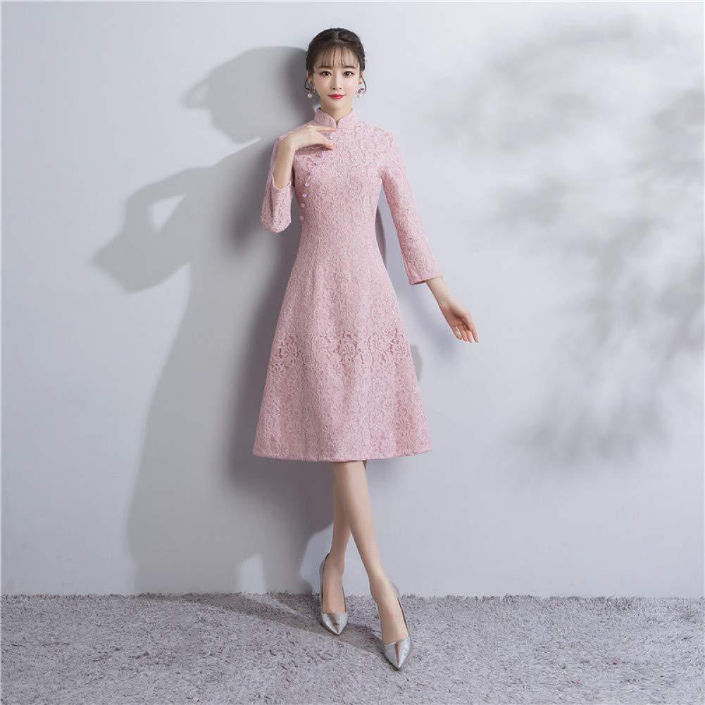 A8 XL Qingxi Robe Cheongsam en Dentelle à Manches Longues et à Manches Longues pour Fille