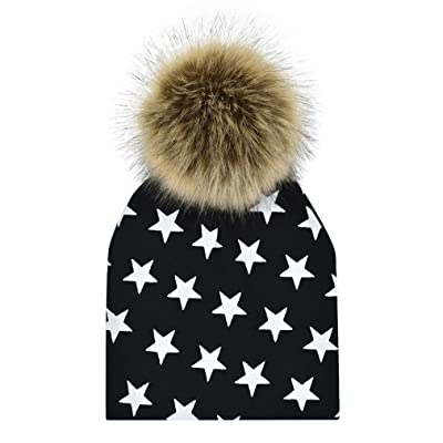 Amiley Newborn Infant Baby Winter Print Warm Faux Fur Pom Pom Ball Hat Beanie Cap Christmas gift