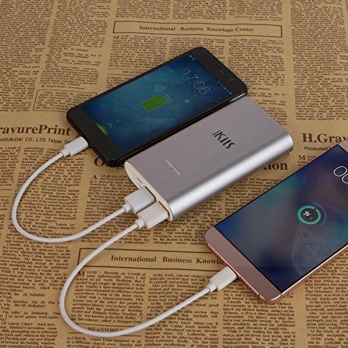 iKits (Qualcomm certificado) de carga rápida 3.0 Ultra Power Bank 5000mAh delgado externos Extended Batería de entrada: QC3.0, Salida: CC + inteligentes para el iPhone / iPad Samsung Galaxy Nexus Goog Space Gray