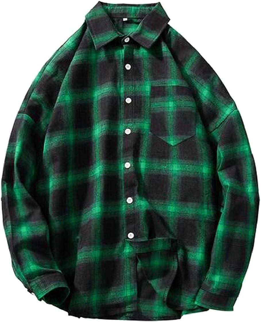 Fubotevic - Camisa de franela a cuadros para hombre, talla grande - Verde - US-XX-Large: Amazon.es: Ropa y accesorios