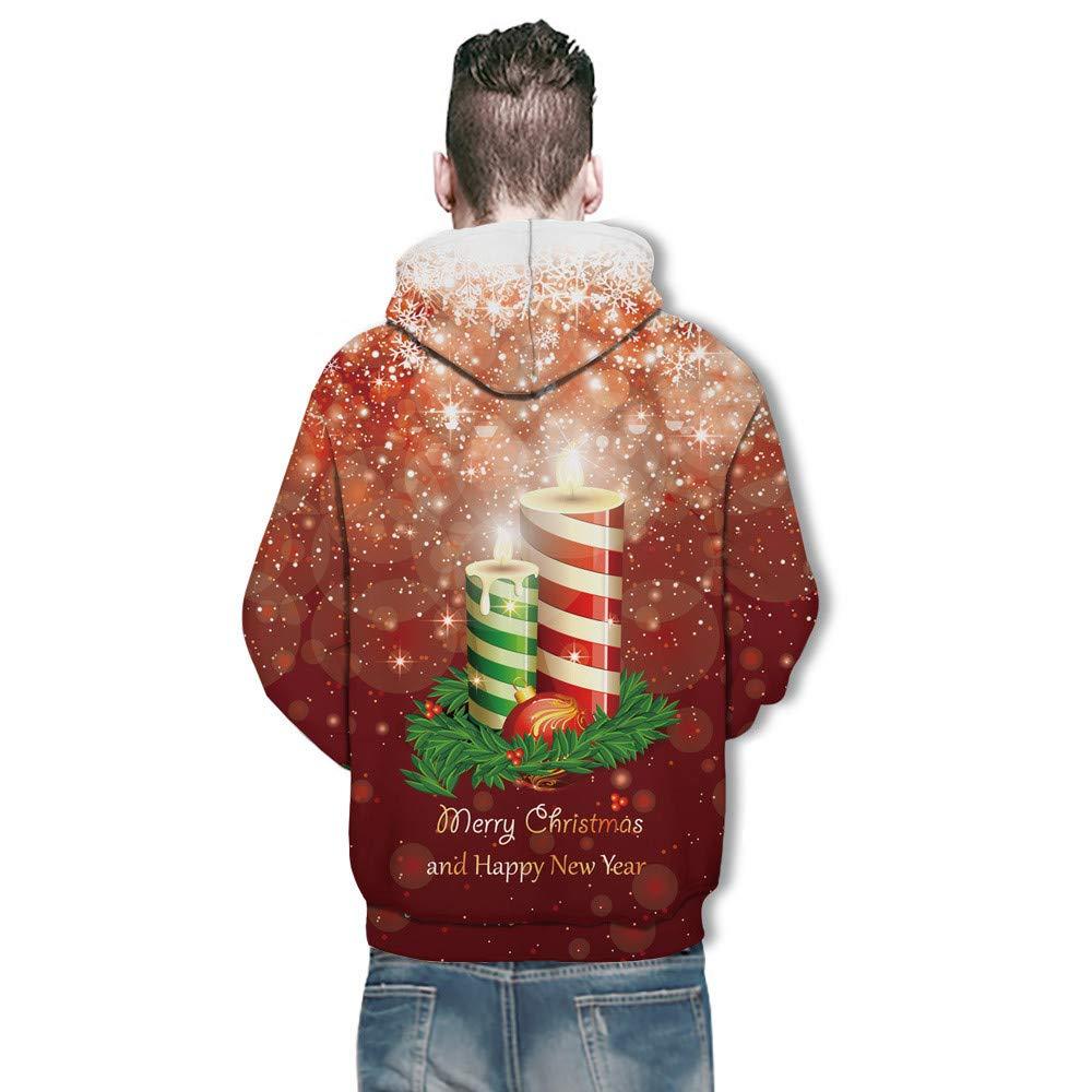 Kstare Christmas Hoodies for Men Jacket Pullover Zipper 3D Hoodie Fleece Cool Novelty Hooded Sweatshirt