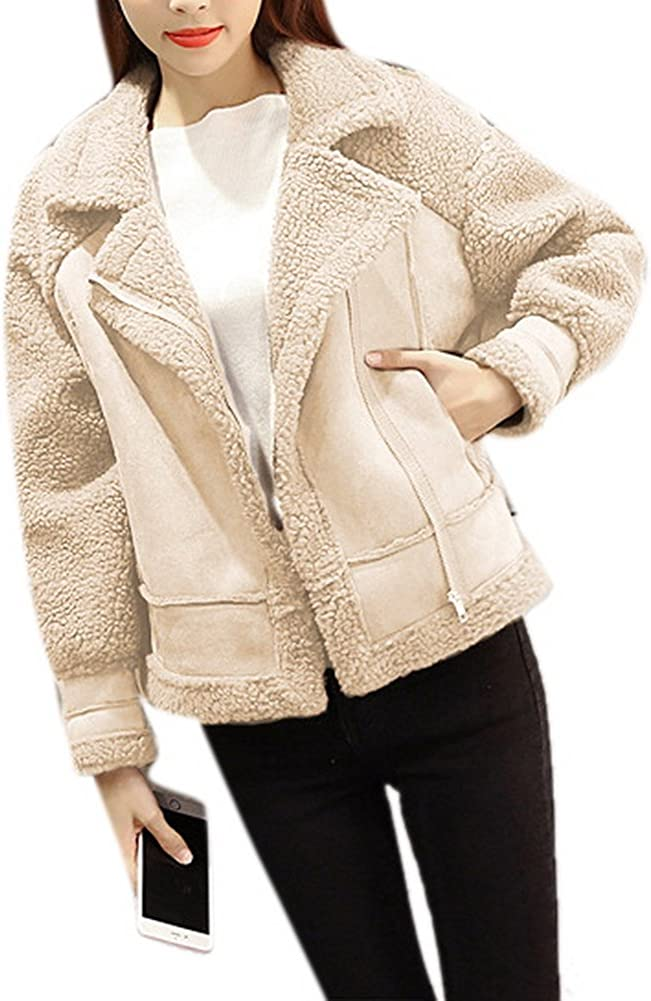 COLINNA Womens Fleece Winter Thick Warm Coat Zipper Lapel Boyfirends Moto Jacket Outwear