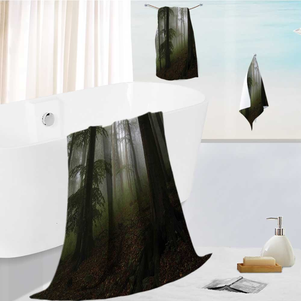 Miki Da bath sheet towel set Mysterious Woods with Fog Wilderness Rural Untouched Vegetation Multipurpose Quick Drying 19.7''x19.7''-13.8''x27.6''-31.5''x63'' by Miki Da (Image #1)