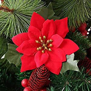 Shxstore 10 pcs 6 Inches Red Artificial Poinsettia Wedding Christmas Flowers for Crafts and Ornaments 4