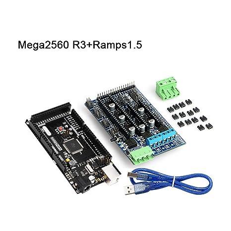 lzndeal tarjeta madre Mega 2560 R3 + rampas 1,5 con kit Cable USB ...