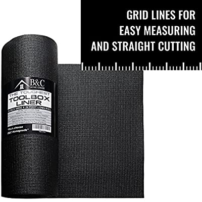 Professional Tool Box Liner and Drawer Liner - Black Non-Slip Shelf Liner Is Perfect for Protecting Your Tools - These Thick Cabinet Liners Are Easily Adjustable to Fit Any Space (18'' x 24 ft): Home Improvement