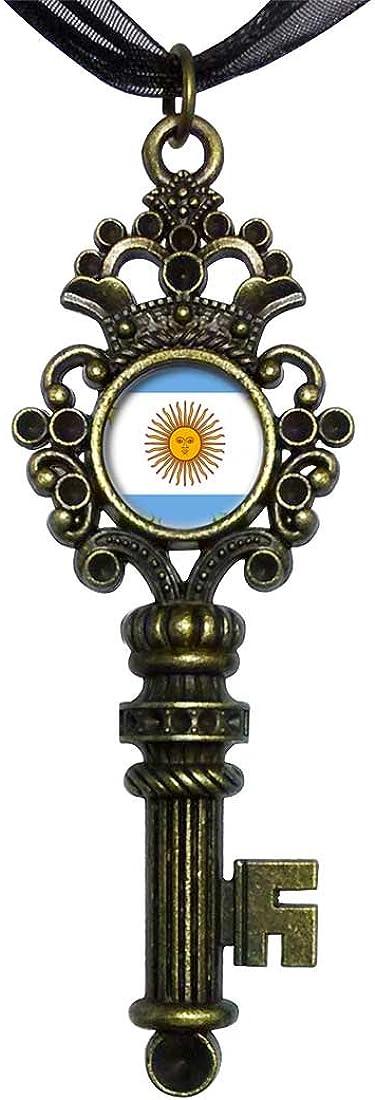 GiftJewelryShop Bronze Retro Style Argentina Flag Vintage Keys Charm Pendant Necklace