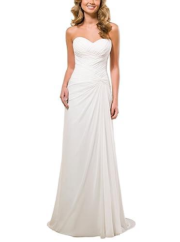 Vivebridal Women's A-Line Chiffon with Pleat Lace Up Beach Wedding Dress