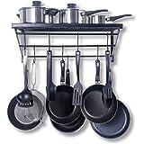 Etagère de cuisine, égouttoir et porte-casseroles, grille de cuisson, avec 10 crochets, noire