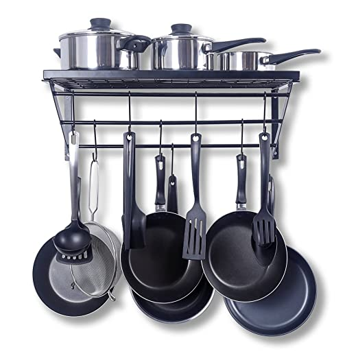 ZPOKA - Bandeja de Cocina, con 10 Ganchos en Forma de S, Metal, Negro, 602130 cm: Amazon.es: Hogar
