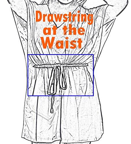 La Leela caftán rayón bordado resortwear traje baño señoras del poncho encubrimiento maxi del boho del traje baño partido ocasional vestido verano bohemio túnica Azul