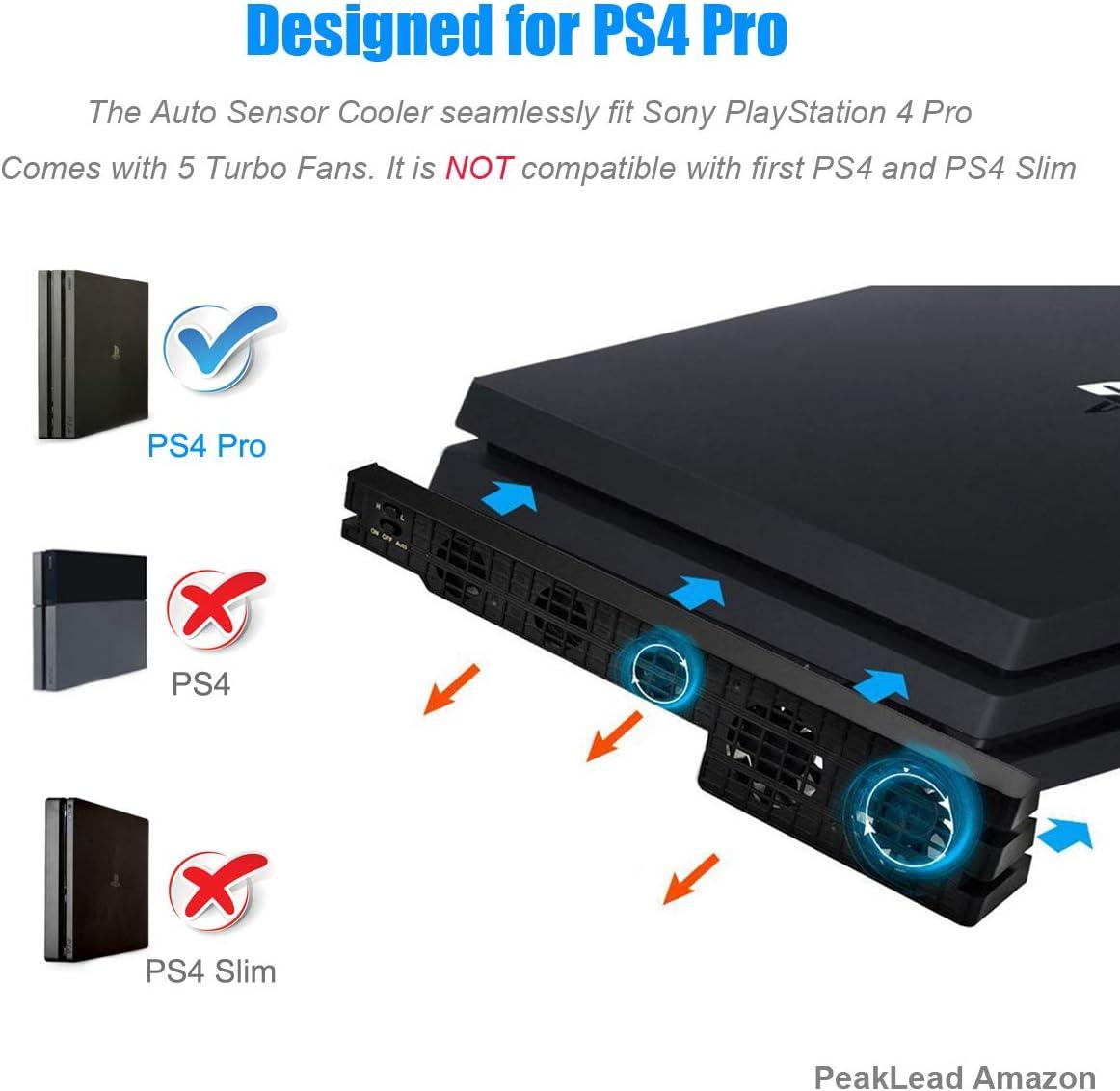 PS4 Pro Turbo refrigerador ventilador de refrigeración, Súper USB Cooling Fan Cooler con sensor de temperatura automático para PlayStation 4 Pro: Amazon.es: Electrónica