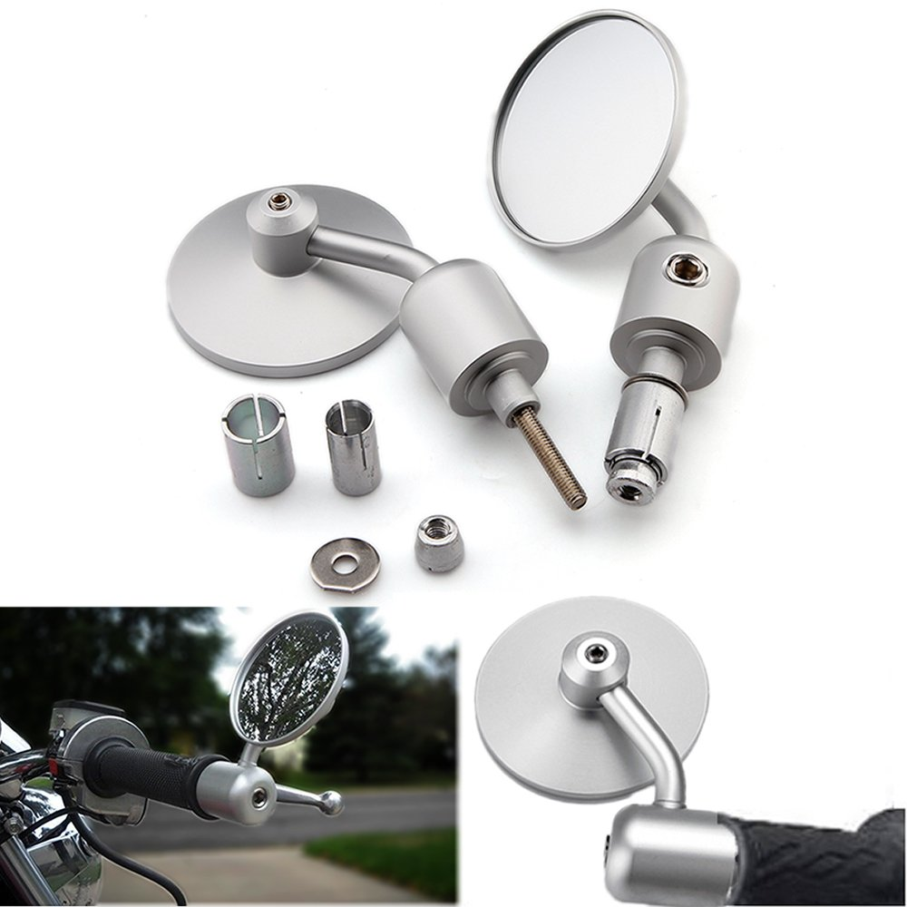 Rich Choices Universal Chrome 7/8'' 22mm Motorcyle Handlebar End Side Mirrors (Chrome)