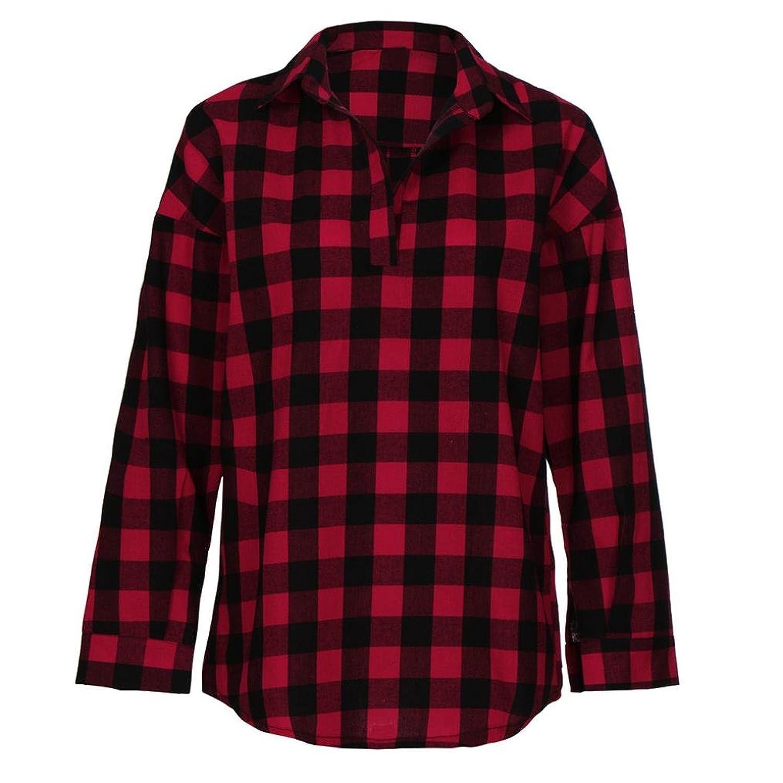 gut eingezäunt 2018 Herbst Frauen Shirt LSAltd Frauen Plaid Print Shirt V-Ausschnitt Langarm Ruffle Bluse Umlegekragen Casual Crop Top Chic T-Shirt