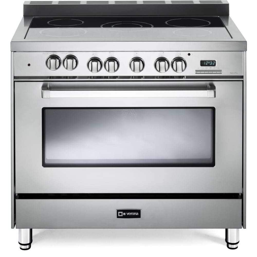 Verona VEFSEE365SS 36'' Electric Range with 4 cu. ft. European Convection Oven Black Ceramic Glass Cooktop 5 Burners Dual Center Element Chrome Knobs and Handle: Stainless Steel by Verona