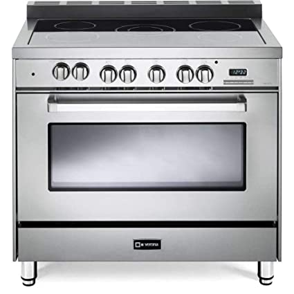 36 Electric Range >> Verona Vefsee365ss 36 Electric Range With 4 Cu Ft European Convection Oven Black Ceramic Glass Cooktop 5 Burners Dual Center Element Chrome Knobs