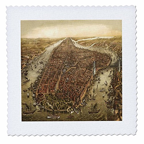 1870 Print (3dRose Print of 1870 Manhattan Map - Quilt Square, 12 by 12-Inch)