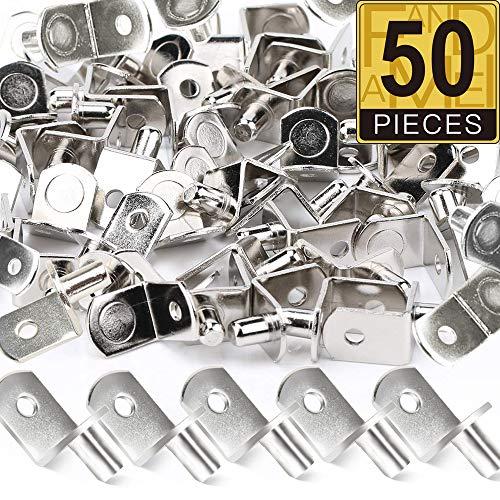 50 Pack Shelf Support Pegs, FANDAMEI 6mm L-Shaped Metal Nickel Bracket Pegs with Hole for Kitchen & Bookcase Shelf Cabinet Closet Shelf Bracket (Peg 6)