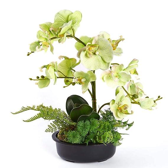 Orchideen Künstlich,Künstliche Orchideen Simulation Der Bonsai Phalaenopsis Orchideen Kunstpflanzen Im Topf Für Heim-Dekorati