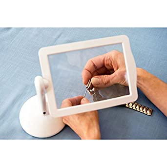 Hand Free LED Magnifier Hosamtel 360 Degree Rotation Screen 3X Magnifier  For Seniors,