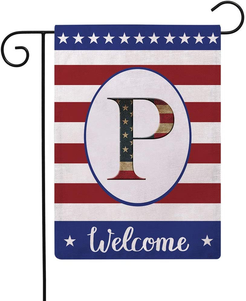 Patriotic Decorative Flag Initial Letter Garden Flags with Monogram P Double Sided American Independence Day Flag Welcome Burlap Garden Flags 12.5×18 Inch for House Yard Patio Outdoor Decor(P)
