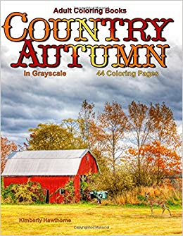 adult coloring books country autumn in grayscale 42 coloring pages of autumn country scenes rural landscapes and farm scenes with barns cottages streams windmills mountains and more