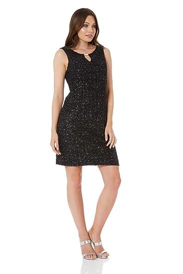 Roman Originals Women Sequin Shift Dress In Black Size 10 20 At