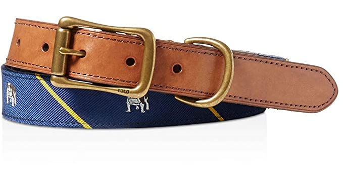 0dfed546 Polo Ralph Lauren Men's Bulldog Tie Silk Belt Navy (32): Amazon.co ...