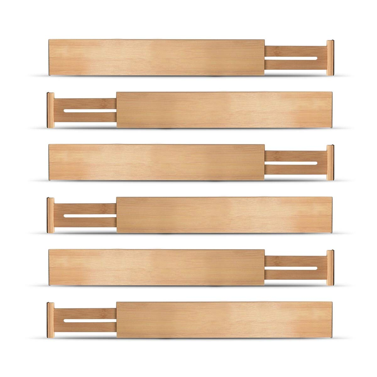 Bamboo Drawer Divider Set of 6 - Kitchen Drawer Organizer Spring Adjustable & Expendable Drawer Dividers, Made of 100% Organic Bamboo - Best for Kitchen, Dresser, Bedroom, Baby Drawer, Bathroom, Desk