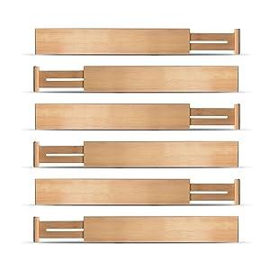Bamboo Drawer Divider Set of 6 - Kitchen Drawer Organizer Spring Adjustable & Expendable Drawer Dividers, Made of 100% Organic Bamboo - Best for Kitchen, Dresser, Bedroom, Baby Drawer, Bathroom, Desk