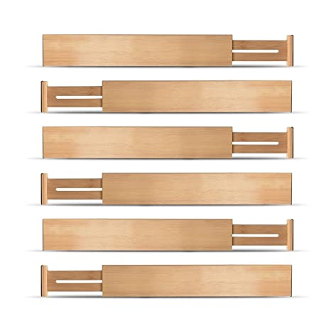 Bamboo Kitchen Drawer Dividers Organizers - Set of 6 Spring Loaded  Adjustable Drawer Separators for Home and Office Organization