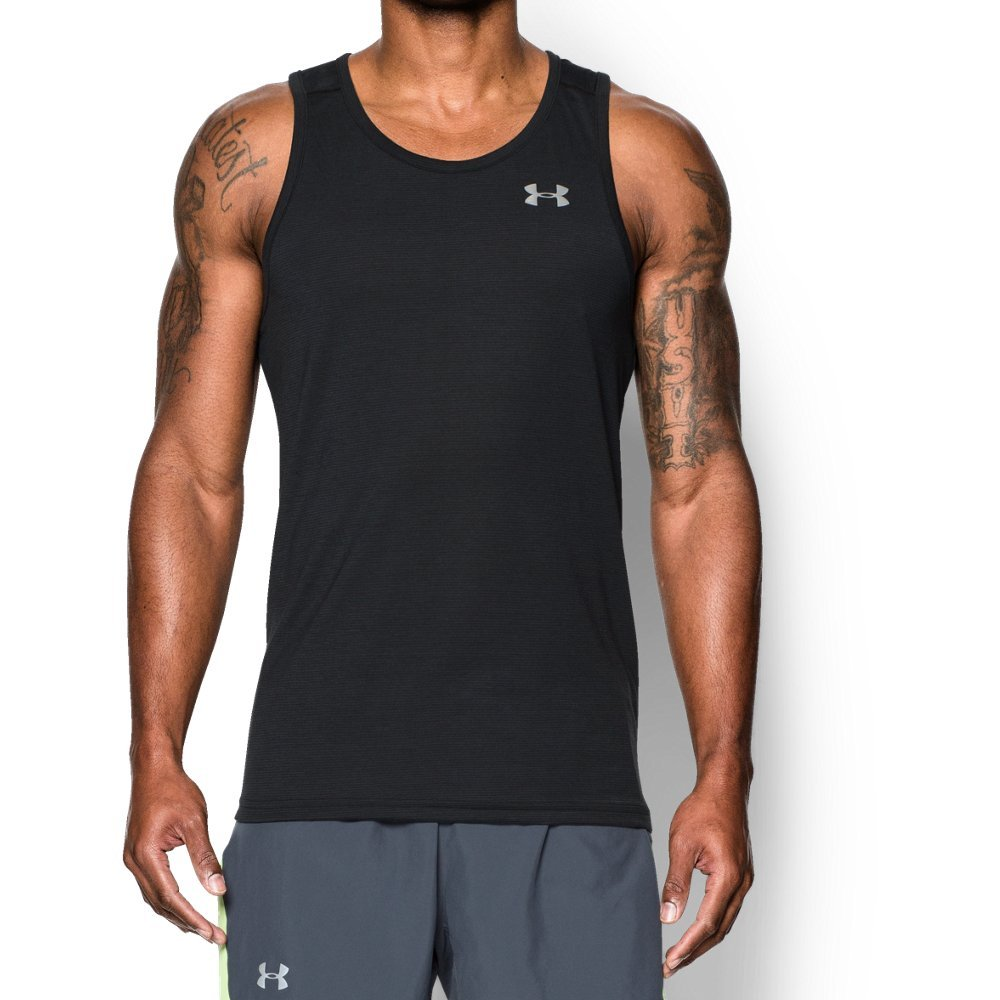 Under Armour Men's Threadborne Streaker Singlet, Black/Reflective, Medium by Under Armour