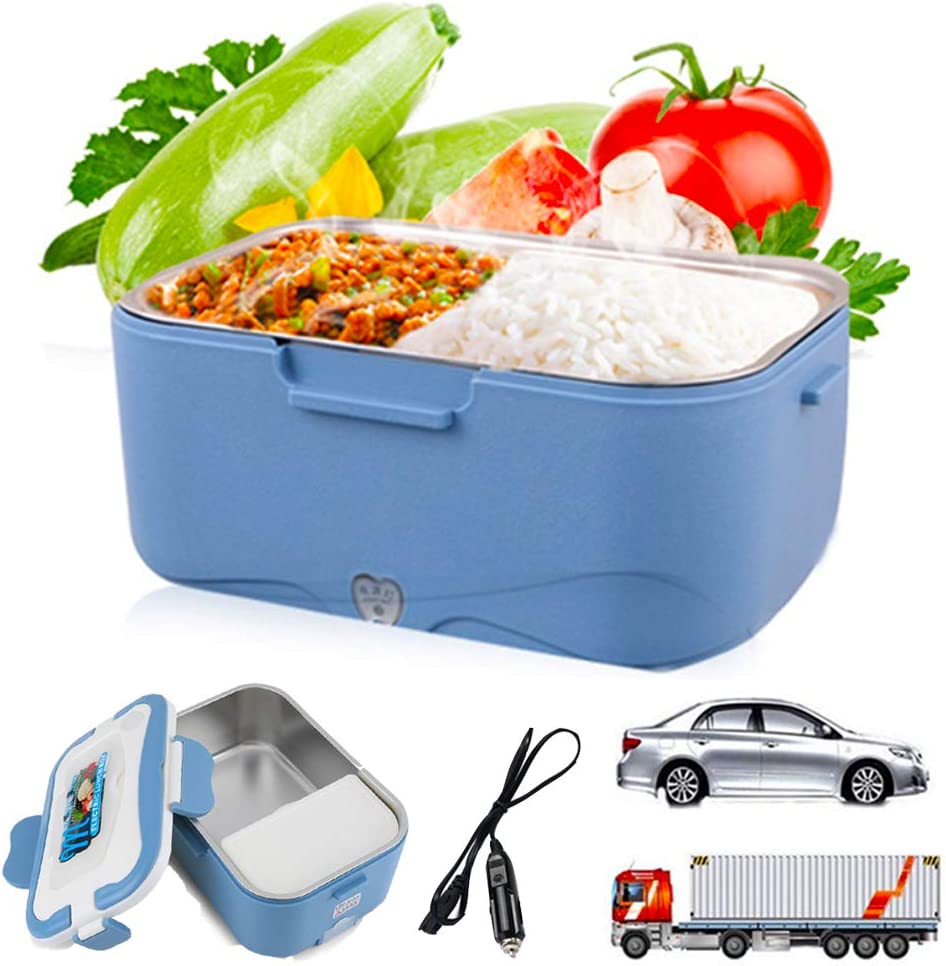 Electric Lunch Box 2 in 1 - Portable Food Warmer for Car, Truck, Includes 2 Compartments, Removable Stainless Steel Food Heater Container (24V for Truck)