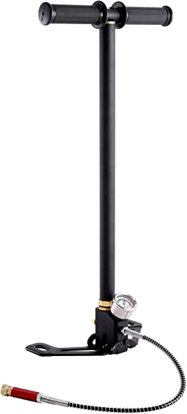 HIRAM High Pressure Hand Pump Air Rifle Filling Stirrup Pump 40MPA, Stainless Steel, CE Listed