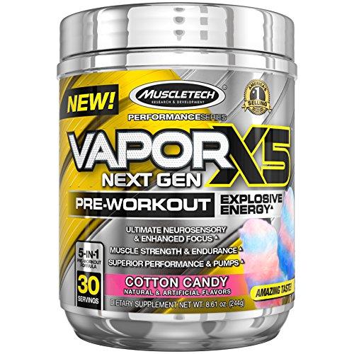 Cotton Candy Lead - MuscleTech Vapor X5 Next Gen Pre Workout Powder, Explosive Energy Supplement, Cotton Candy, 30 Servings , 8.61 Ounce
